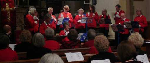 St Mary's Handbell Ringers perform at a concert in Alveston in aid of Cancer Research UK